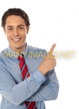 Business male pointing upwards
